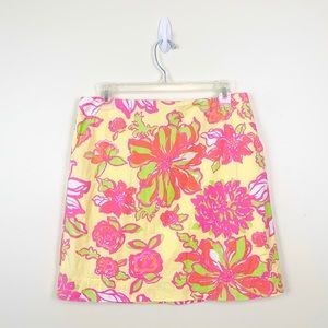 EUC Yellow Floral Lilly Pulitzer Skirt - 6